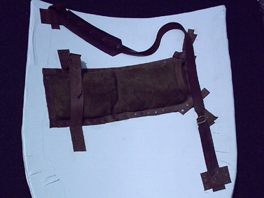 picture of a shield with completed straps.